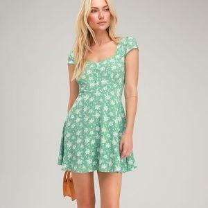 Sage green floral print mini dress